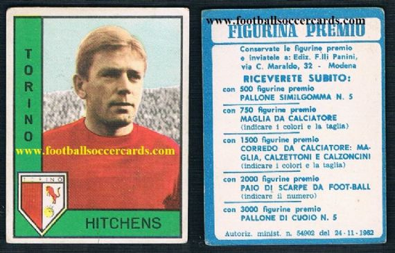1962 Panini Gerry Hitchens RARE PREMIO BACK Torino,  1st in-house Panini  series